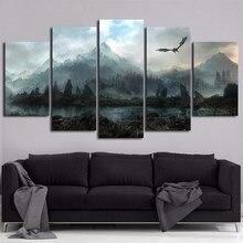 Tela de parede arte fotos decoração casa 5 peças, thrones jogo dragon skyrim pinturas para sala modular impressões pôster