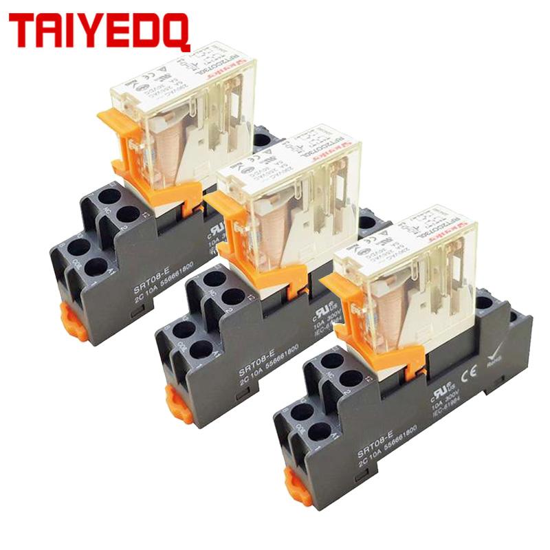 Машина катушка реле общего DPDT микро мини электромагнитное реле с гнездом базы AC 220V DC 12V 24V 220V 5/8 пинов|Реле|   | АлиЭкспресс