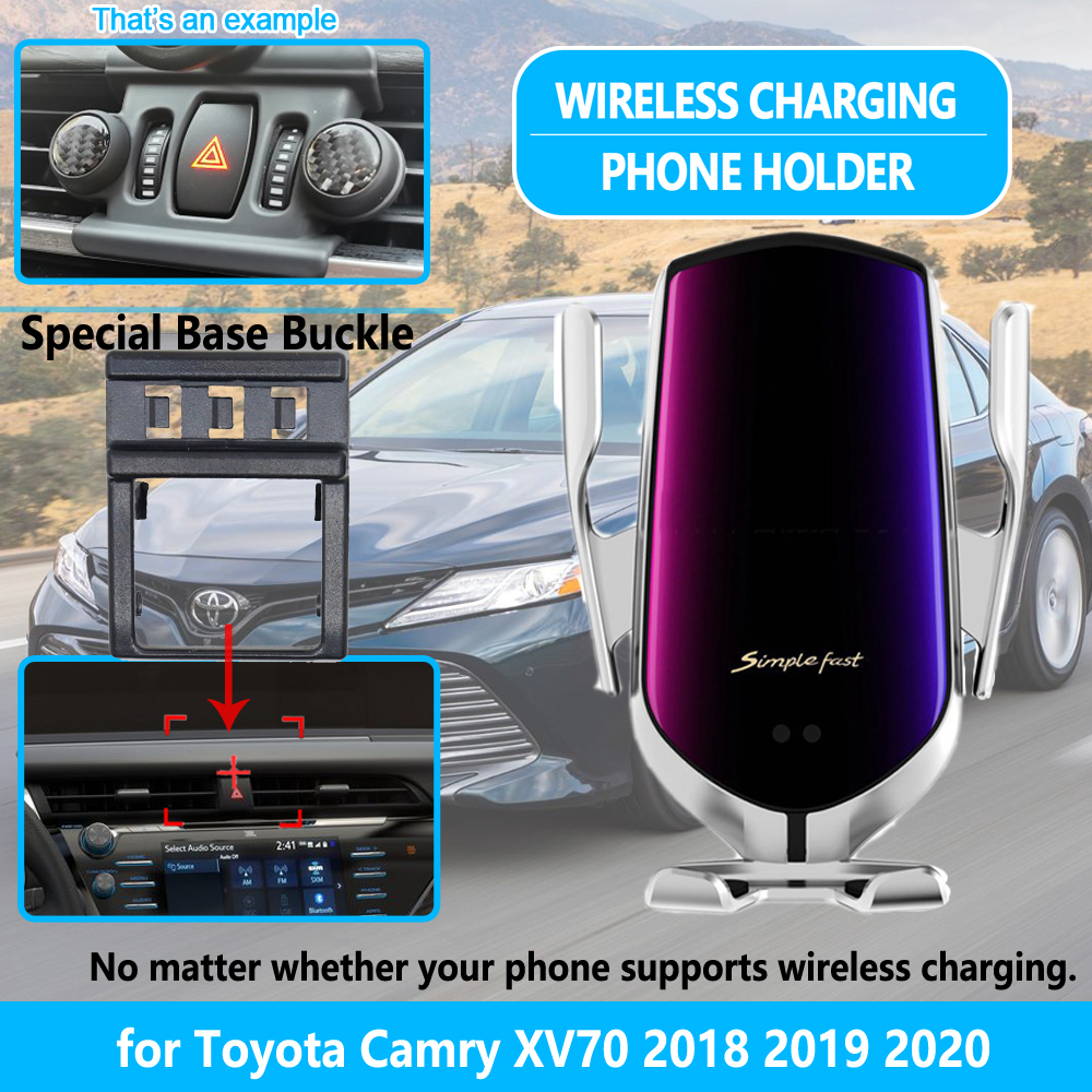 Car Phone Holder for Toyota Camry <font><b>70</b></font> XV70 <font><b>2018</b></font> 2019 2020 Wireless Charging 10W for iPhone Samsung HUAWEI Bracket Accessories image