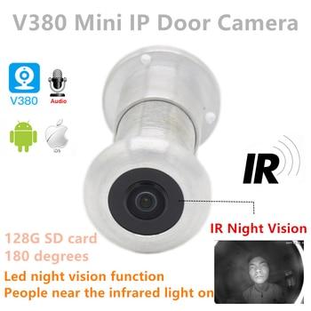 цена на 1080P Cloud storage TF Card night IR WIFI Audio Door Eye Hole Wide Angle Network Mini Peephole wifi Door IP Camera P2P V380 pro