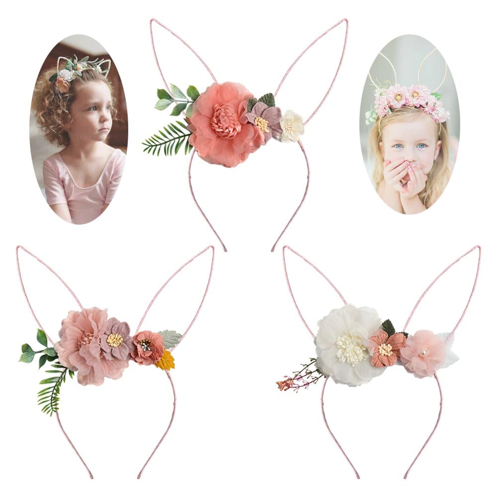 Orelhas de coelho organza flor bandana para meninas coelho da páscoa hairband crianças aro de cabelo floral coroa de verão meninas acessórios para cabelo