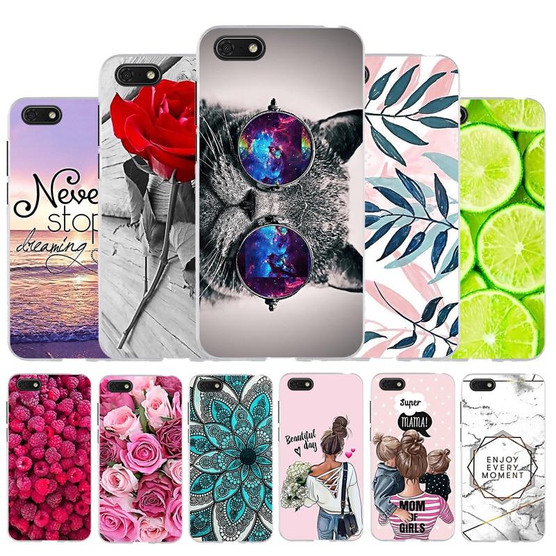 Étuis de téléphone pour Honor 7S étui Silicone couverture souple pour Huawei Y5 2018 étui chat pour Huawei Y5 Prime 2018 pare-chocs fleur Animal mignon