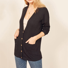V Neck Loose Knitted Cardigans Sweaters Women Autumn Long Sleeve Knitting Sweater Femme Casual Loose Sunscreen Sweaters 2019 black v neck long sleeves loose plunge knitted sweaters
