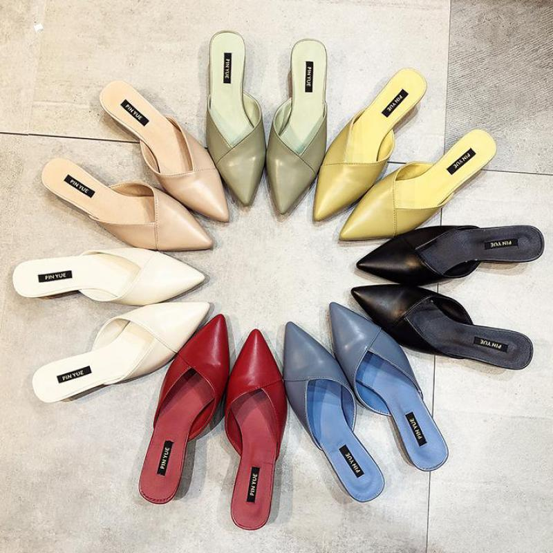 2020 Summer Fashion Women Pointed Toe Slipper Beige Low Heels Outsides Ladies Slides Luxury Brand Beach Mules Shoes Calzado Muje
