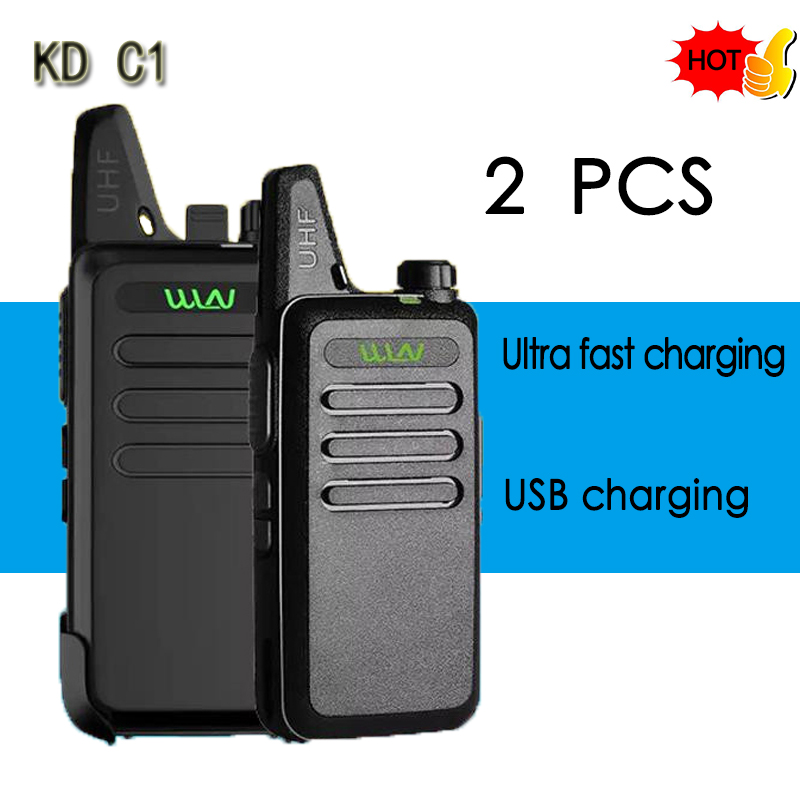 2PCS WLN KD-C1Mini Walkie Talkie Portable Radio UHF <font><b>400</b></font>-470 <font><b>MHz</b></font> 5W 1500mah With 16 Channels slim Amateur Handheld Transceiver image