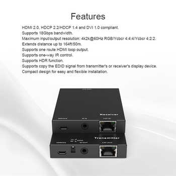 2020 4K 60Hz HDMI 2.0 Extender 50m Support 18Gbps & Loop Out HDMI Extender with IR 4K HDMI to RJ45 Extender Transmitter Receiver