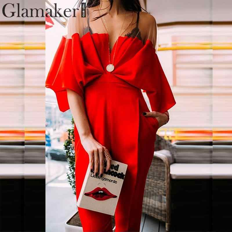 Glamaker Sexy pleated patchwork mesh autumn jumpsuit Women winter bodycon red jumpsuit & romper Female vintage jump suit overall