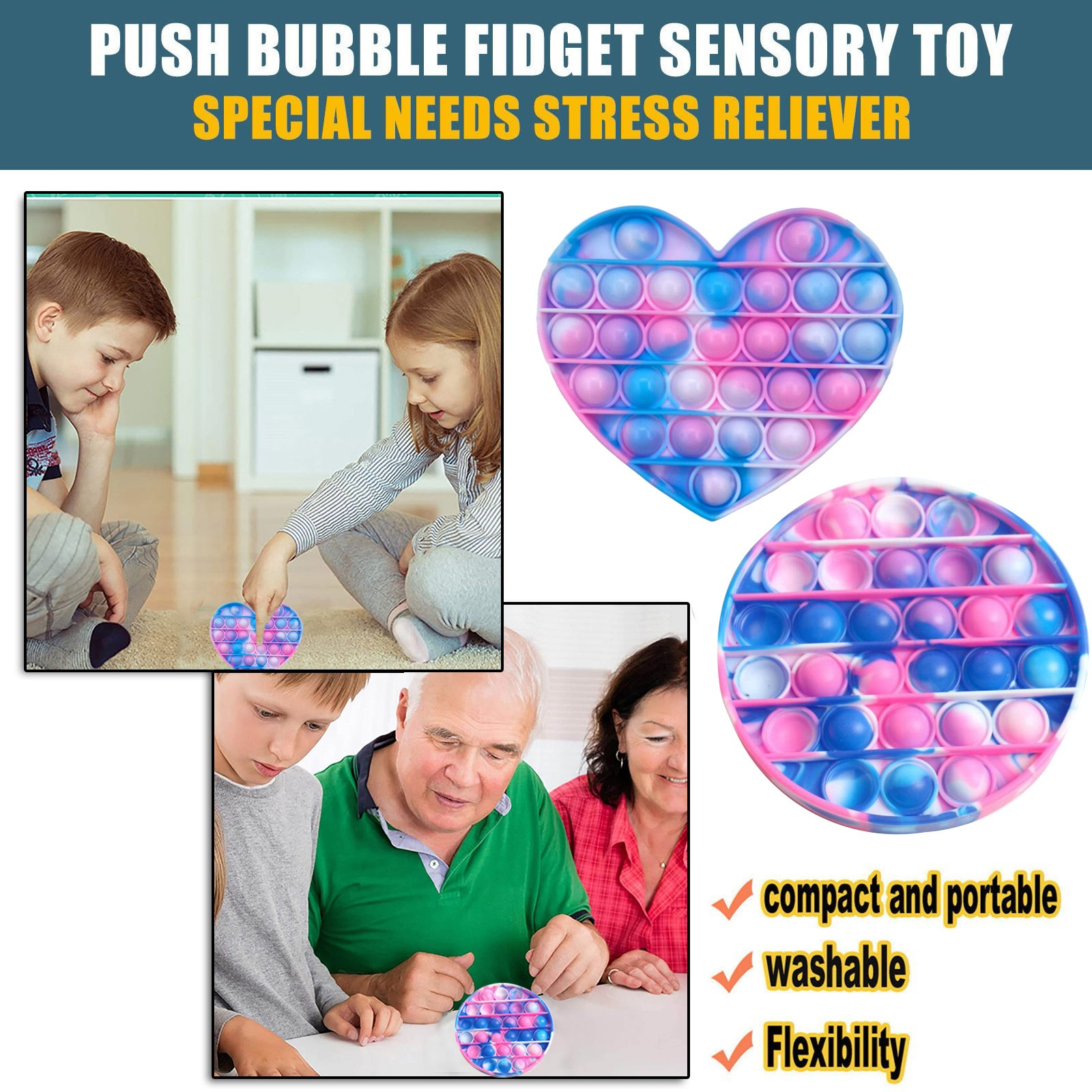 Funny Fidget Toys Simple Dimple Poppit Toy Bubble Sensory Toy For Adult Kids Stress Reliever Autism Gift ?????????? ???? Drop