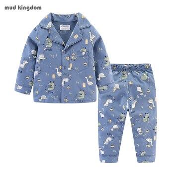 Mudkingdom Boys Girls Pajamas Set Callared Long Sleeve Cute Cartoon Autumn Toddler Pajama Kids Sleepwear Print Children Clothes 1