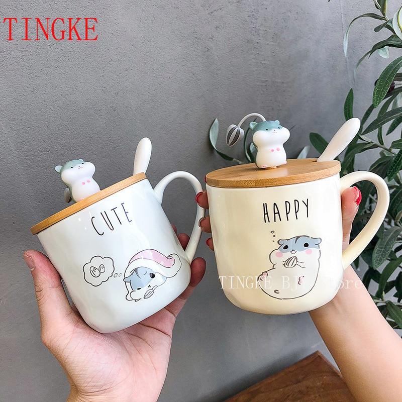 400ML Korean Creative Simple Hamster Mug Cartoon Cute Spoon with Lid Personality Couple Water Cup Home Breakfast Cup
