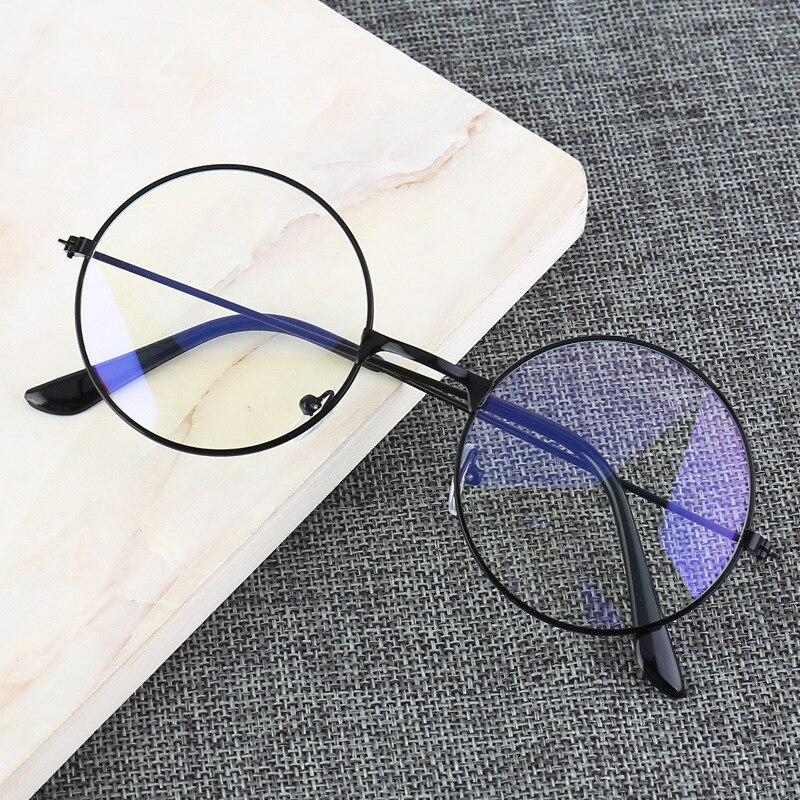 Vintage marco de Metal redondo luz azul bloqueo personalidad estilo universitario lente transparente anteojos protección para la vista juego para teléfono móvil