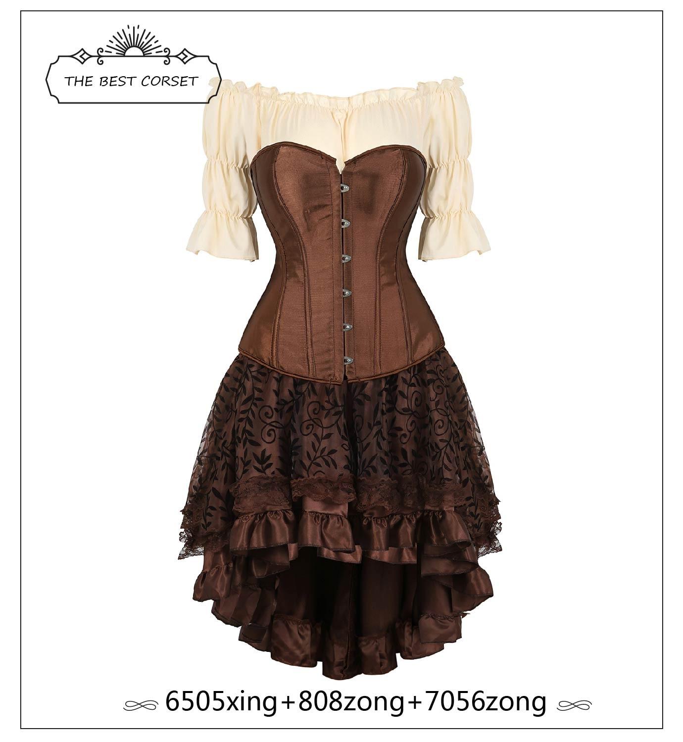 Steampunk Corset Dress  Renaissance Gothic Corset Vintage Dress Faux Leather Corset Skirt Tops 3 Piece Cosplay Costume
