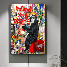 Graffiti Follow Your Dreams Poster Mr. Brainwash Orangutan Einstein Chaplin Canvas Painting Wall Art Pictures For Living Room
