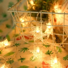 2M 20LED New snowflake string battery box Christmas Garland String Lights Fairy Light Outdoor For Xmas Tree Wedding Party Decor