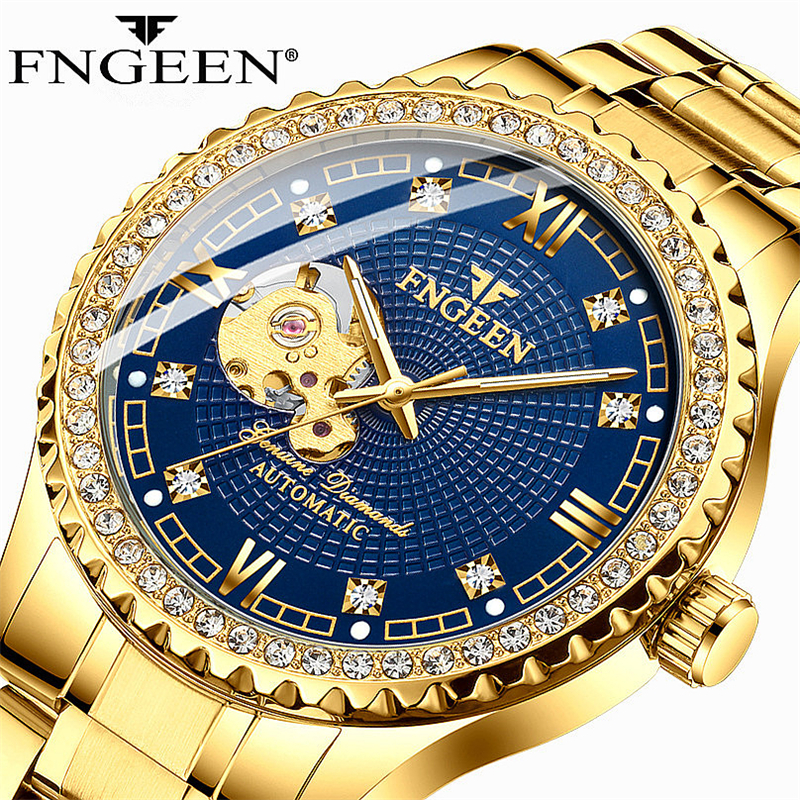 Watch Men Skeleton Automatic Mechanical Watches Gold Skeleton Vintage Man Watch Mens FNGEEN Watch Top Brand Luxury Diamond Auto