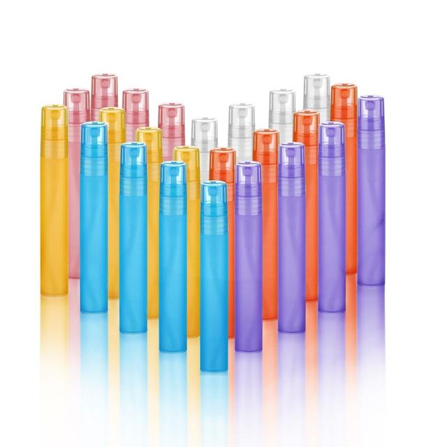 500x10 мл мини красочные многоразовые пластиковые pp спрей бутылки Духи 10cc 1/3 унций пустой распылитель аромата Parfum контейнеры