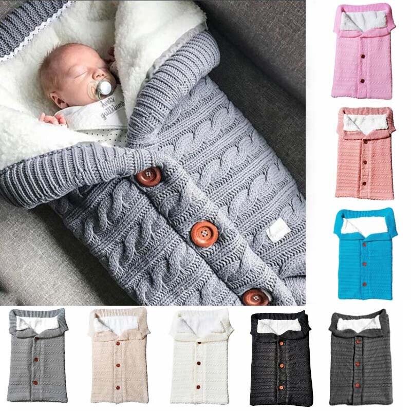 Outono e inverno carrinho de bebê saco de dormir botão ao ar livre bebê malha saco de dormir lã escovado e grosso cobertor do bebê