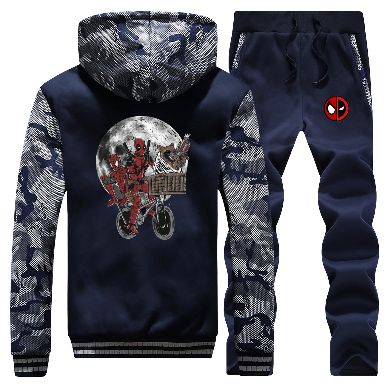 Marvel Print Men Jacket+Pants 2Pieces Suit Winter Super Hero Spiderman And Deadpool Pattern Thick Hooded Hoodies Sweatpants Sets