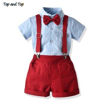 newborn infant baby boy wedding formal suit bowtie gentleman romper outfit 0 24m Top and Top Newborn Baby Boy Gentleman Clothes Set Short Sleeve Bowtie Shirt Tops+Suspenders Shorts Outfits Infant Formal Suit