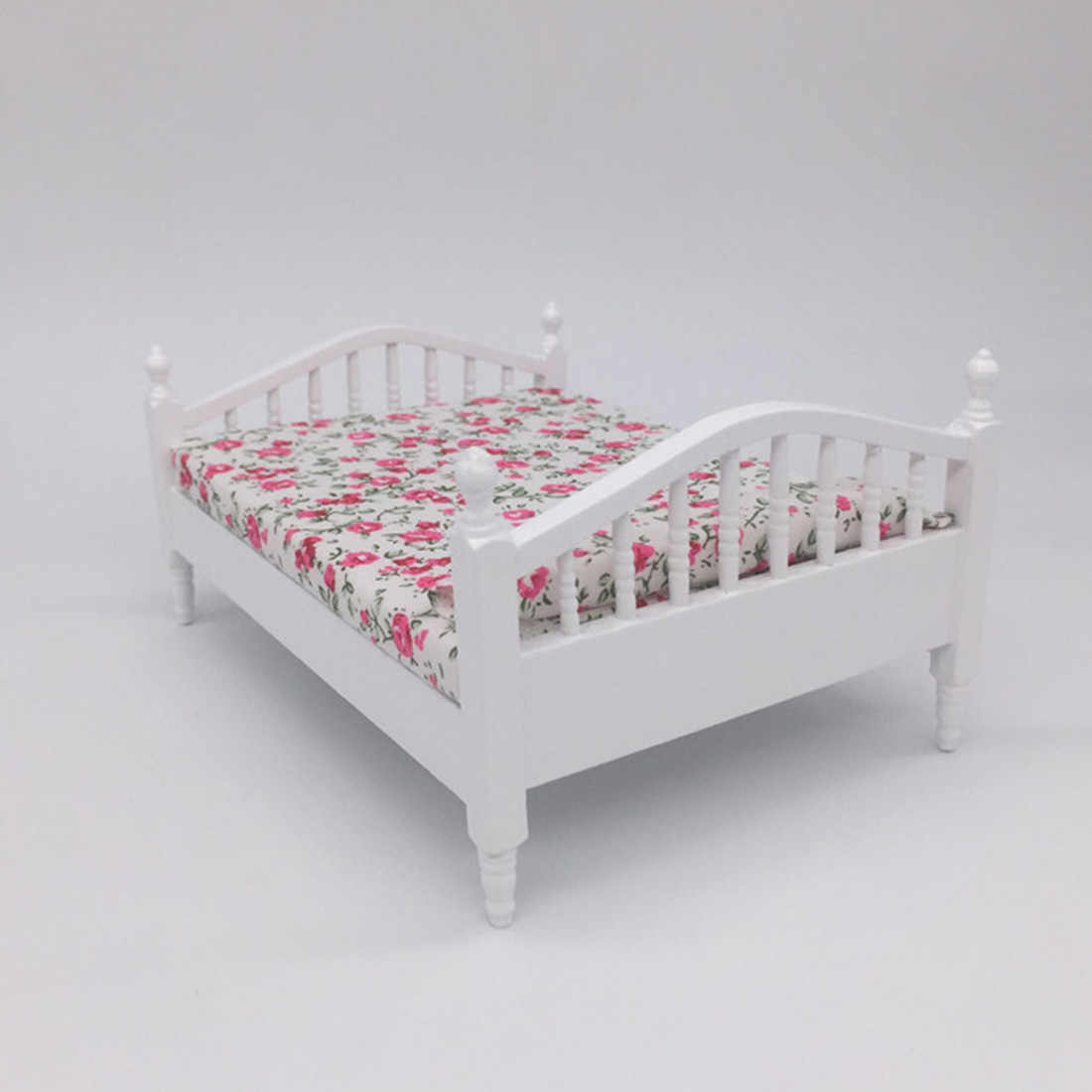 1/12 Scale Miniature Dollhouse Pocket Double Bed Model Diy Assembly Dolls Houses Accessories  - Dark Color Floral Pattern