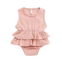 Pudcoco 2021 Новая модная летняя одежда для новорожденных, для маленьких девочек одежда без рукавов Комбинезоны Платье-пачка платье для девочек, ...
