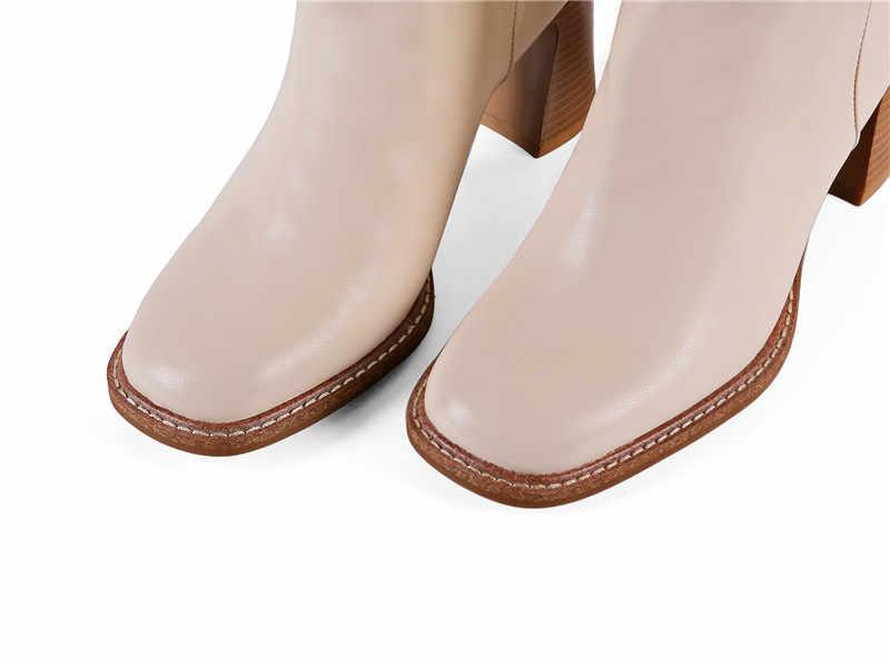 MoonMeek 2020 Neue kommen heißer verkauf winter kniehohe stiefel für frau fashion square toe high heels damen schuhe solide frauen stiefel