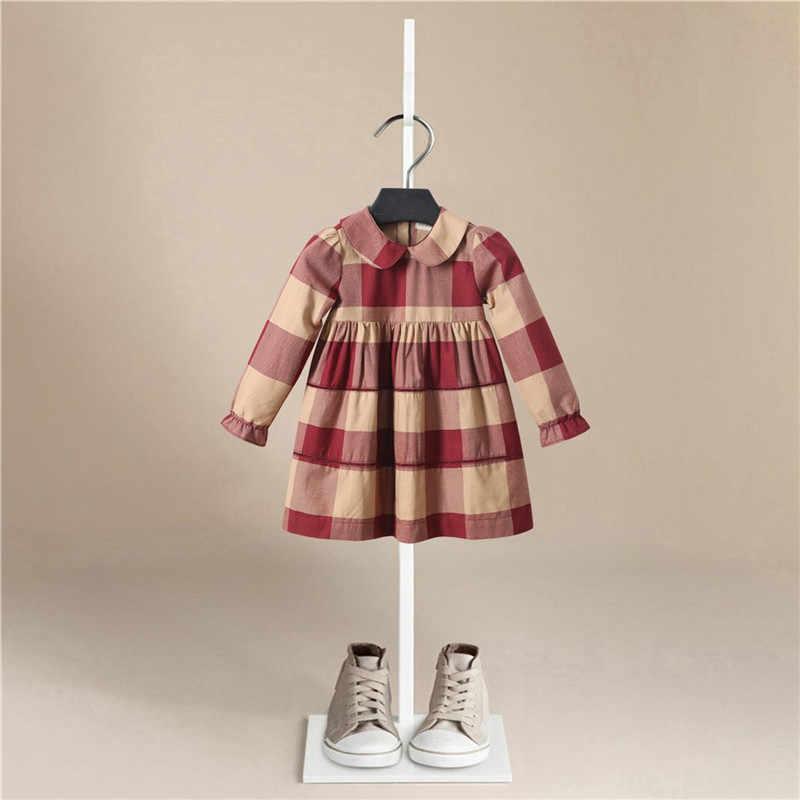 Vestito Della molla Della Ragazza del Cotone Dei Bambini Del Manicotto Lungo Abiti reticolo della banda Per Bambini Abiti per le Ragazze di Moda Vestiti Per Ragazze bebe