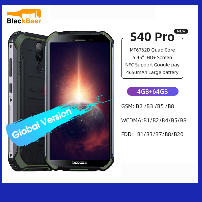 DOOGEE S40 Pro 5.45″ Android 10 Mobile Phone IP68 IP69K Waterproof Rugged Smartphone Octa Core 4G 64G Cellphone 13MP Al Cameras
