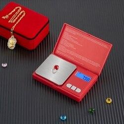 Mini waga cyfrowa czerwona elektroniczna waga 0.01G precyzyjna waga kieszonkowa waga do biżuterii przenośna waga dłoni w Wagi kuchenne od Dom i ogród na