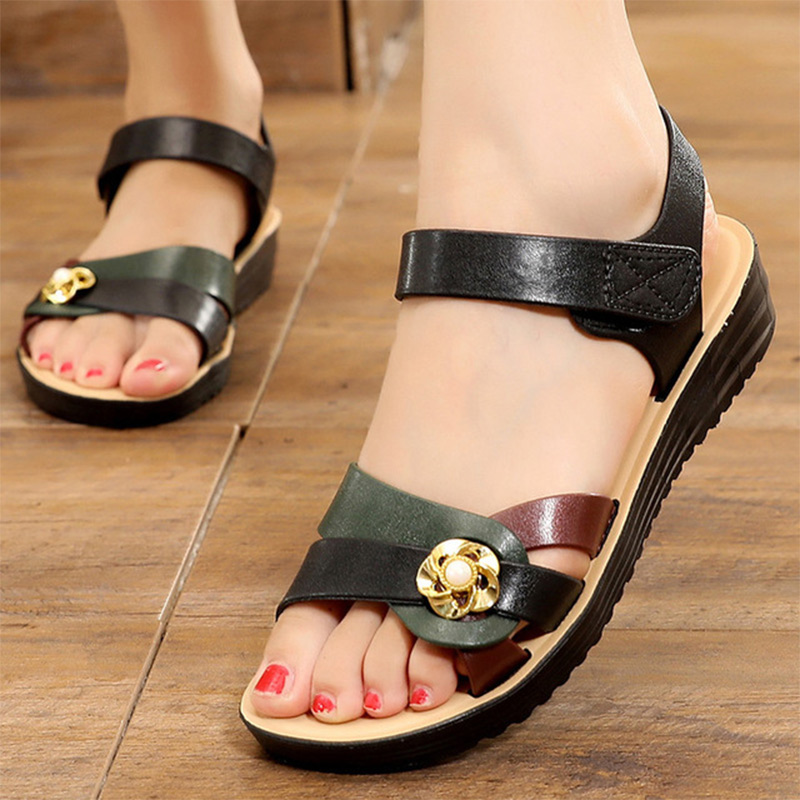 MCCKLE 2020 Summer Women's Sandals PU Hook&Loop Casual Mother Sandals Women Platform Flat Sandalias Ladies Female Beach Shoes