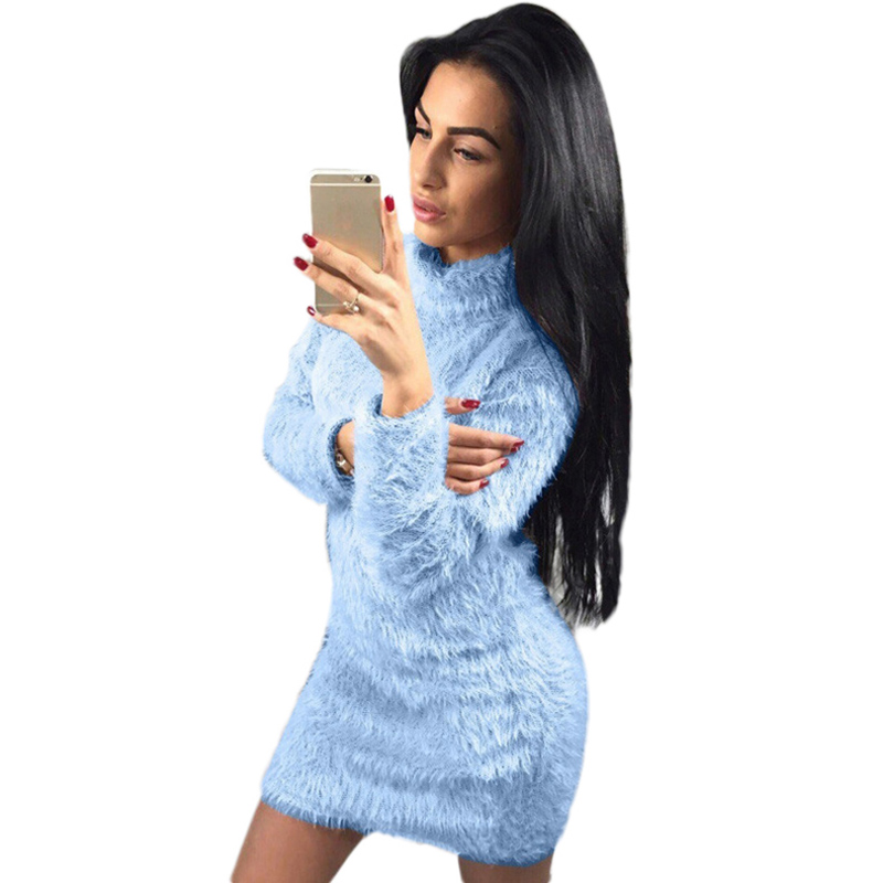 NORMOV Wool Women Dress Winter Warm Longsleeve Turtleneck Sheath Dresses Sexy Bar Slim Hip Dress Party Night Girl Plus Size