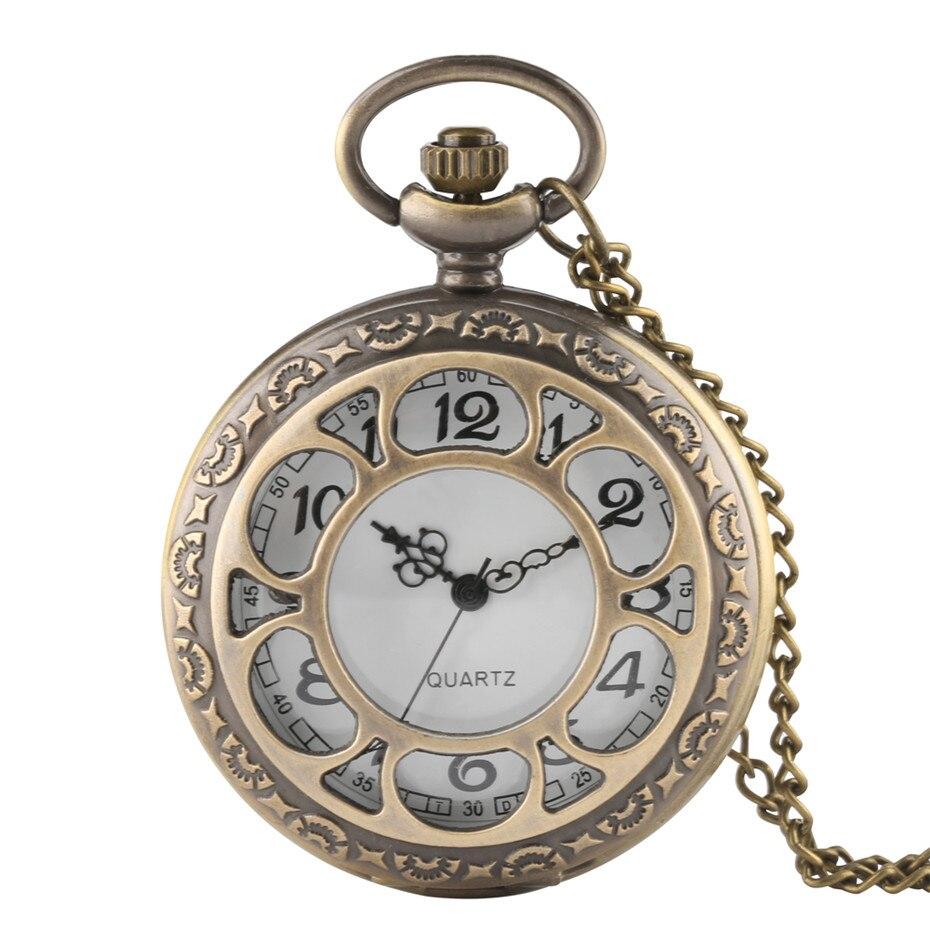 Antique Bronze Hollow Flower Quartz Pocket Watch Arabic Numerals Display Necklace Watches Fob Chain Half Hunter Pocket Clock