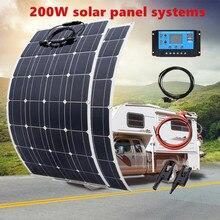 Panneau solaire Mono flexible 20A/10 A, module photovoltaïque soupe 200 W, 100 W, pour voiture, caravane, bateau, maison, toit de camping car, batterie solaire 12 V, 24V