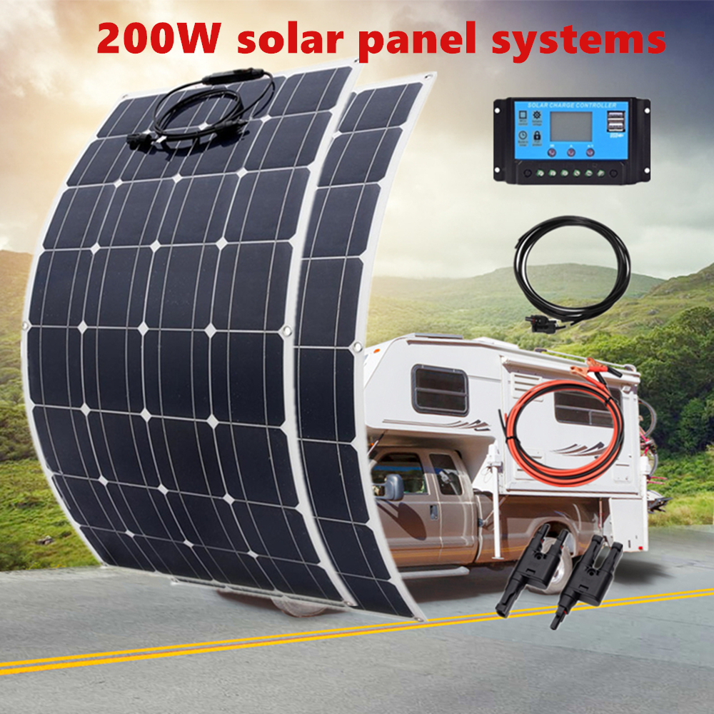 200W <font><b>100W</b></font> Mono Flexible <font><b>Solar</b></font> <font><b>Panel</b></font> 20A/10A <font><b>Solar</b></font> Controller Module for Car RV Boat Home Roof Vans Camping <font><b>12V</b></font> 24V <font><b>Solar</b></font> Battery image