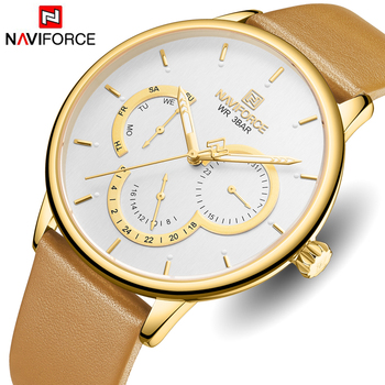 NAVIFORCE 3011 Men Watch Top Luxury Brand Mens Fashion Leather Quartz Watches Male Sport Waterproof Date Wristwatch with box