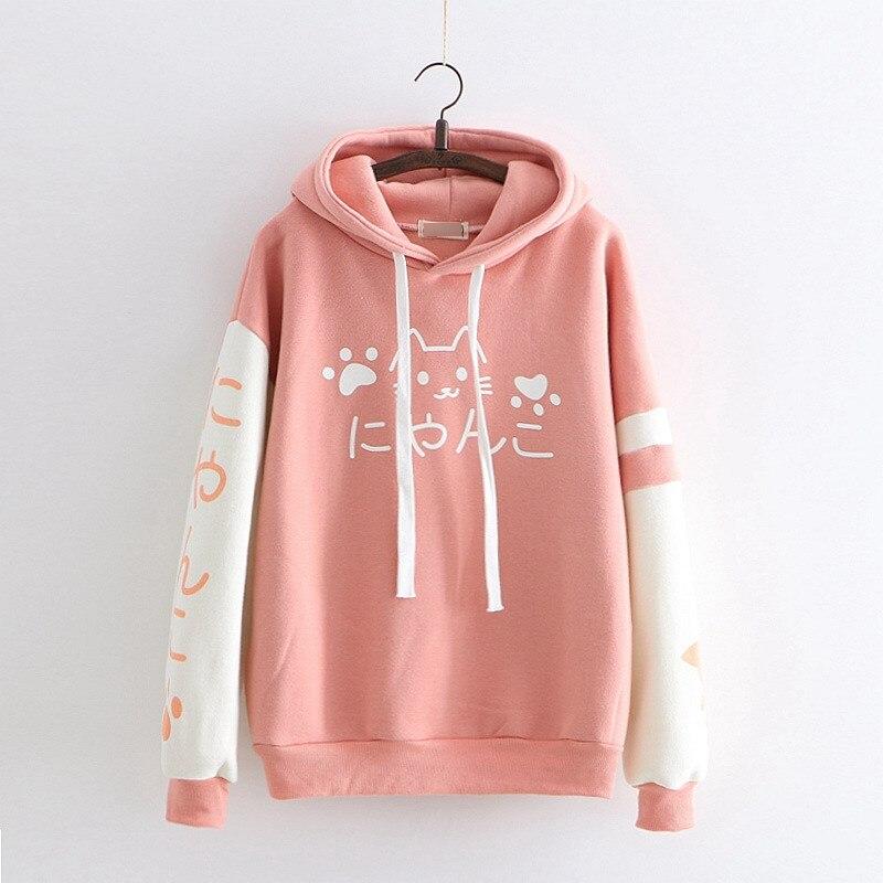 Fall Winter Women Japanese Long Sleeve Pullovers Patch Velvet Hoodies Harajuku Cute Cartoon Cat Hooded Sweatshirts