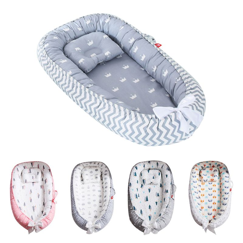 Baby Pod Nest Newborn Reversible Travel Bed Soft Infant Sleeping Cushion Crib