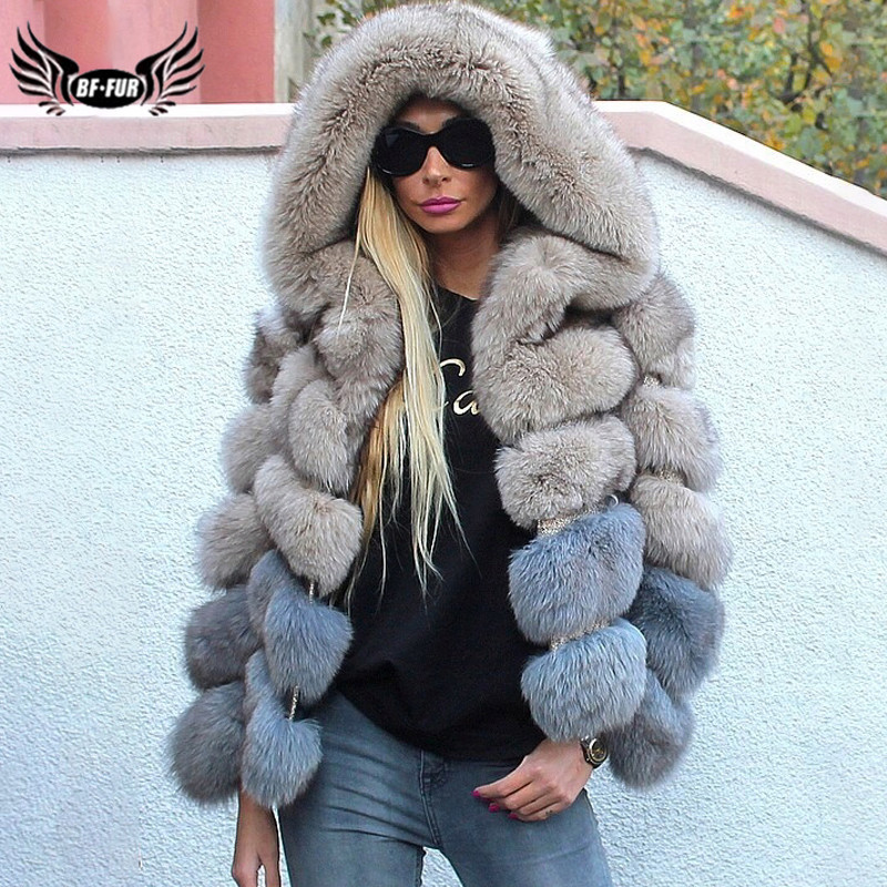 2019 Fashion Women Real Blue Fox Fur Jacket With Hood Genuine Natural Fox Fur Coat For Woman Luxury Overcoat Winter Fur Coats