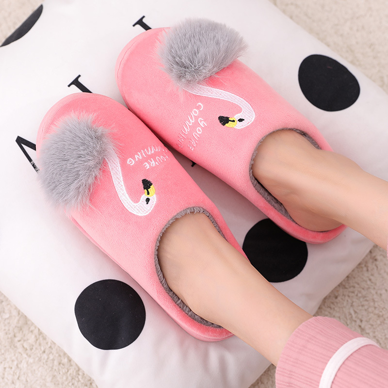Women Winter House Slippers 2019 New Cute Flamingo Non-slip Soft Fur Plush Warm Indoor Bedroom Home Shoes Ladies Furry Slides