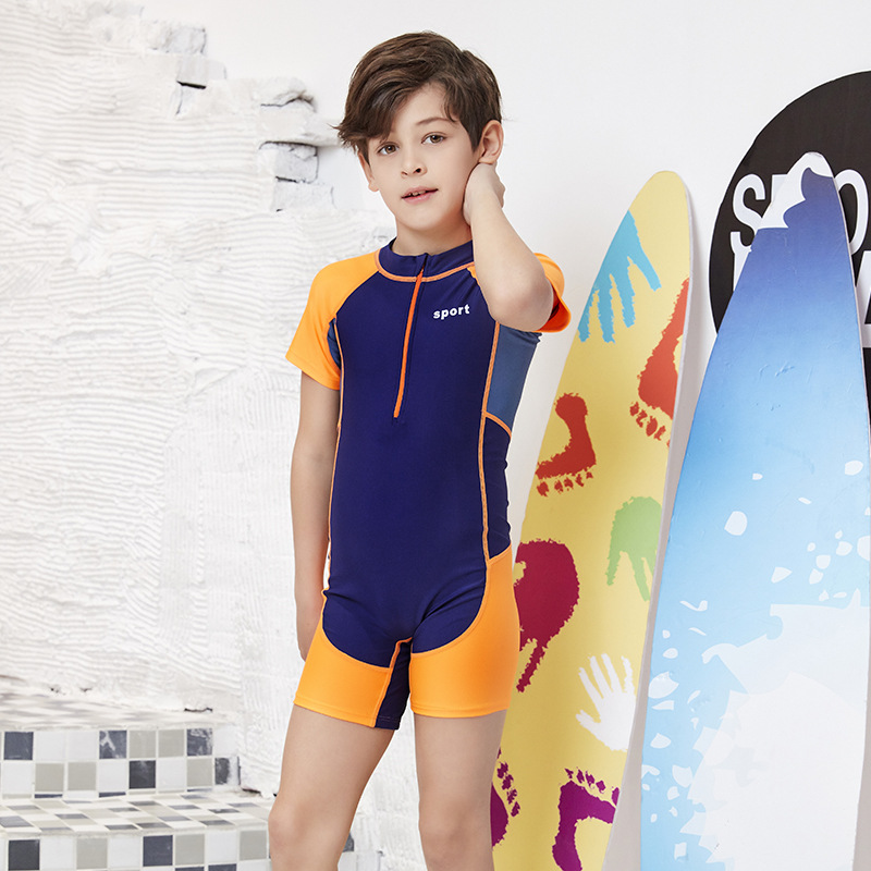 Industry KID'S Swimwear One-piece Boxer Short Sleeve Men And Women Child Big Boy Teenager Training Learn Boy Tour Bathing Suit