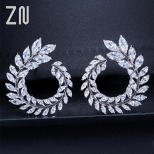 ZN New Sparkly Olive Branch Leaf Shape Marquise Cut Big Cubic Zirconia Stud Earrings For Women Fashion Jewelry Gifts