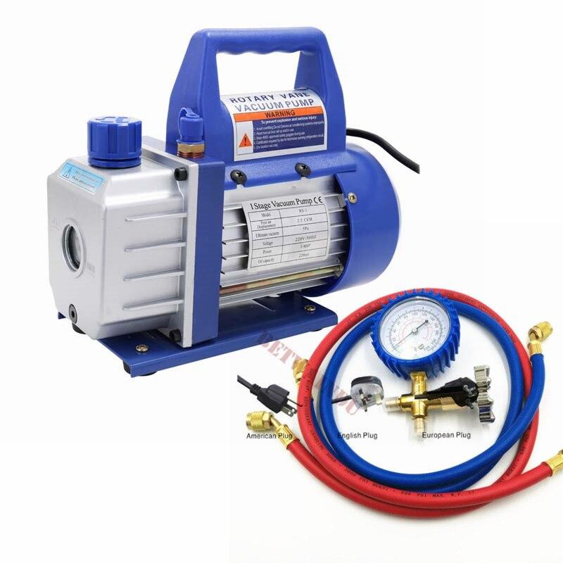 2.5CFM Rotary Vane Deep Vacuum Pump 1//4HP Air Conditioning Tool HVAC Refrigerant