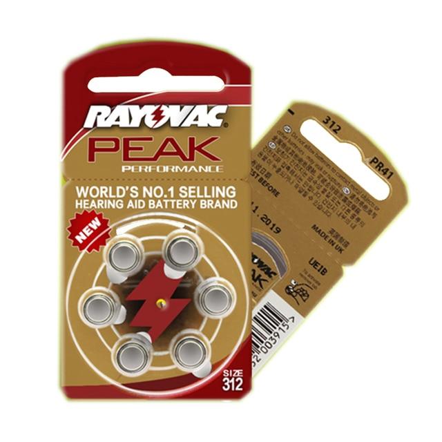 שמיעה 30PCS/5 כרטיסי RAYOVAC PEAK A312/312/PR41 אבץ אוויר batterie 1.45V גודל 312 קוטר 7.9mm עובי 3.6mm