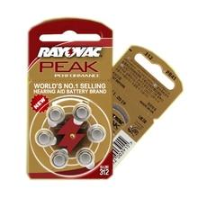 Batterie per apparecchi Acustici 30PCS/5 carte RAYOVAC PEAK A312/312/PR41 Dellaria Dello Zinco batterie 1.45V Formato 312 di diametro 7.9 millimetri di Spessore 3.6 millimetri