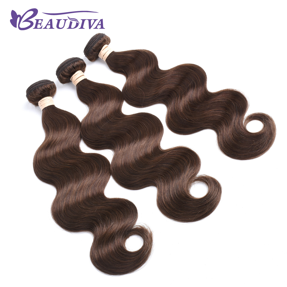 BEAUDIVA Pre-Colored Human Hair Weave Brazilian Body Wave 4# 2# Natural Black Colored Medium Brown Hair Weaving