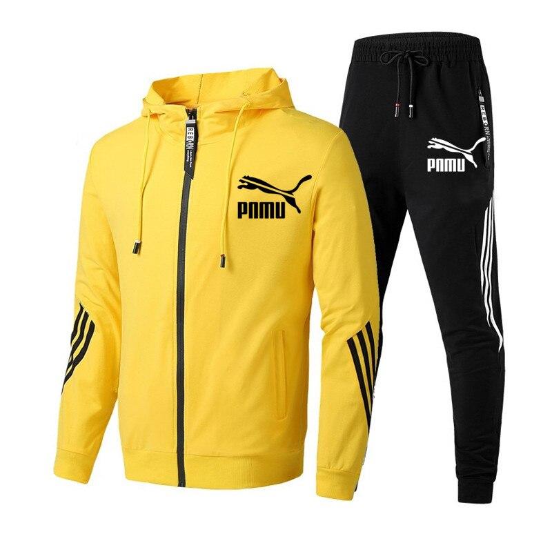 Костюм спортивный мужской из 2 предметов, свитшот на молнии с надписью и спортивные штаны, осень