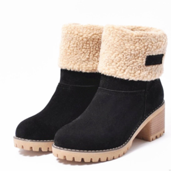 STS Women Boots Plus Size 43 Snow Boot For Women Winter Shoes Heels Winter Ankle Boots  Botas Mujer Warm Plush Insole Shoes Wom plus size women winter snow boots warm short plush flat botas ankle boot platform ladies suede zip shoes female warm botas mujer