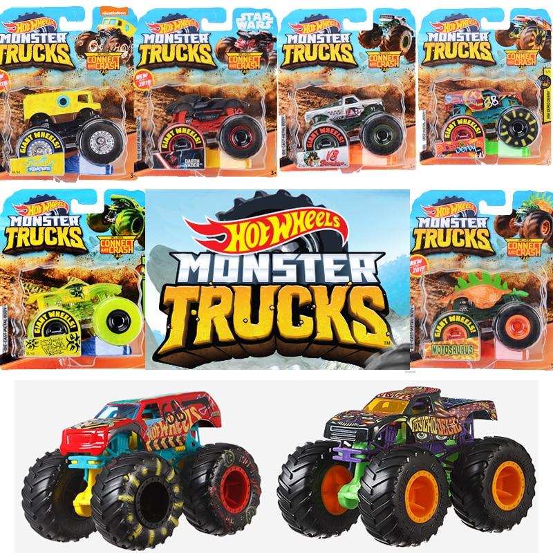 Original Hot Wheels Diecast 1:64  Monster Red Trucks Metal Easy Model Car Toys For Boys 1:24 Boys Kids Toys  For Children