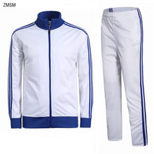 Młodzież męska z długim rękawem dres biegowy kurtki i spodnie piłkarskie oraz aksamitna piłka nożna dres Jogging trening na świeżym powietrzu zestaw bluza
