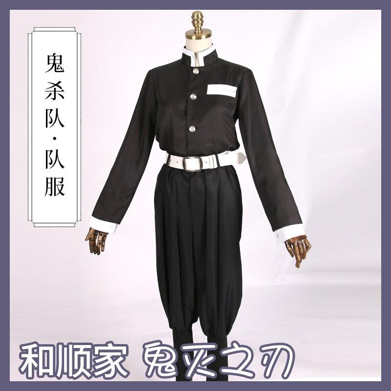 Anime Kimetsu No Yaiba Cosplay Costumes Blade of Demon Agatsuma Zenitsu/Kamado Tanjiro Cosplay Costume Team Uniform B